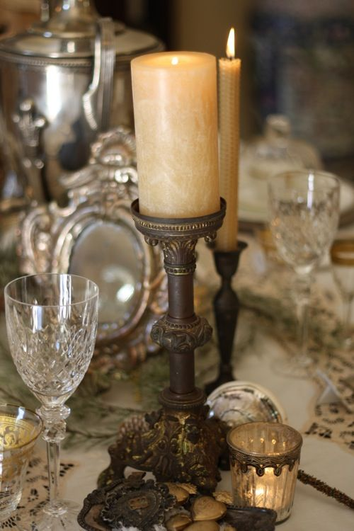 shabby french table setting - way fancy. Leaving the heavy tarnish adds an element