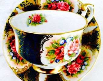 Paragon Teal Rose Gold Filigree 1950's Teacup and Saucer - Edit Listing - Etsy
