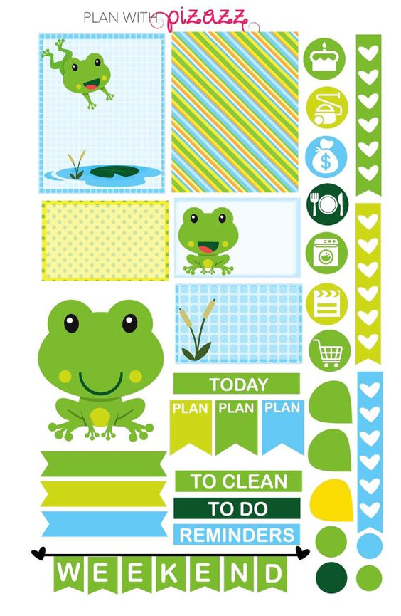 You will receive one sheet of matte finish die cut stickers. The sheet includes super cute FRIENDLY FROGS Theme stickers including several full