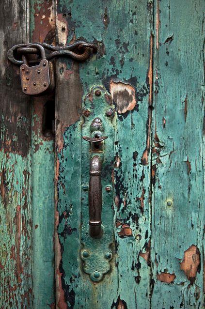 Weathered Barn Door...rusty lock.