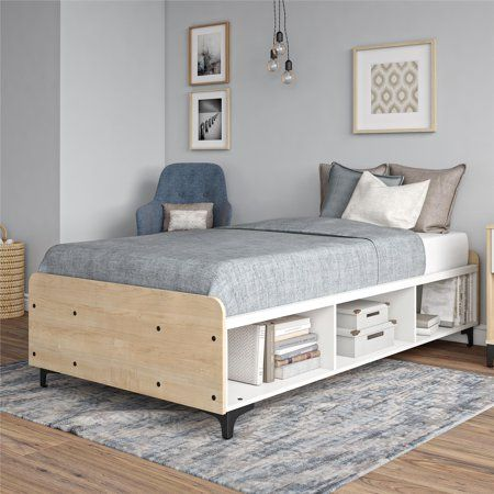 Your Zone Reese Two Tone Twin Platform Bed With Open Storage White Walmart Com Platform Bed With Storage Twin Platform Bed Bed Frame With Storage Twin mattress for platform bed