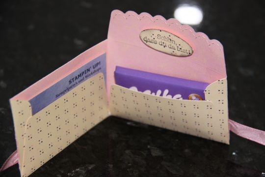 Love this idea with the envelope die. FAB!  Business card holder and a little treat.