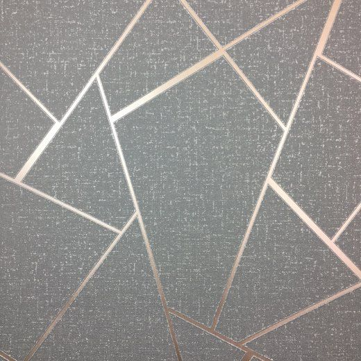 Geometric Marble Wallpaper Charcoal Metallic Rose Gold Fine Decor Fractal