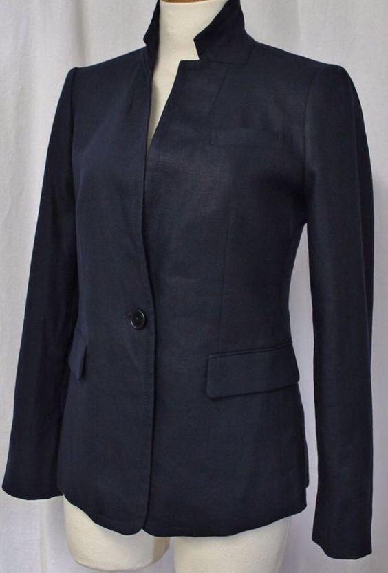 J Crew Women's Tall Regent Blazer Linen Navy Blue C0544 Size 6 Tall | eBay