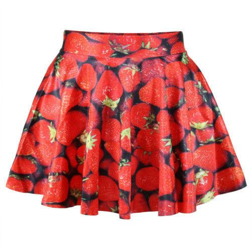 New 2016 summer skirts womens pleated skirts strawberry SKIRT Saia S M L XL plus size
