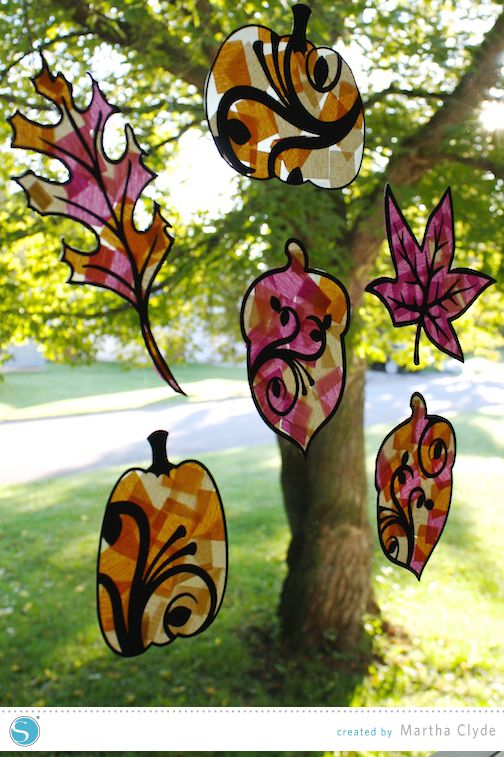 Tissue paper stained glass windows   Fall kids craft created by Martha Clyde