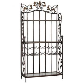 Scrolling ironwork bakers rack with three glass shelves.Product: Baker's rack    Construction Material: Iron metal and glass