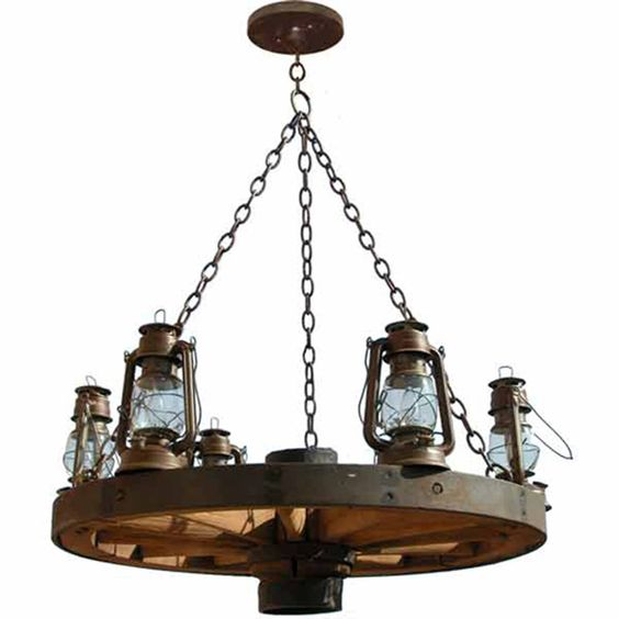 Wagon Wheel Rustic Chandelier Western Decor Pendant Light: Old Western America 1800's