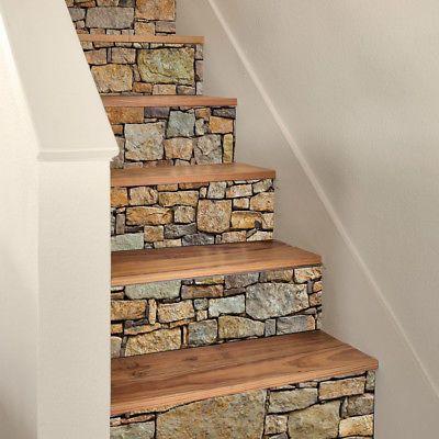 3D Selfadhesive Staircase Stair Riser Floor Sticker DIY Wall Decal Stone PVC