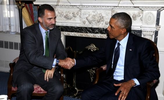 King Felipe VI of Spain met with US President, Barack Obama today in New York; heads of states are currently in New York for the summit being held in at the United Nations. Tonight the King and Queen alongside other heads of states will attend a reception held by the President and First Lady.