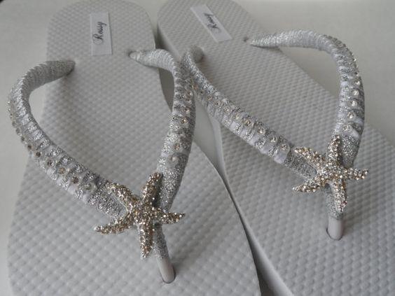 Bridal White Flip Flops / Starfish Rinestone by RossyAccesorios