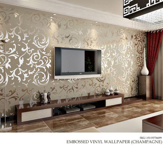 Faux stone interior design wallpaper and interiors on for Wallpaper for interior walls