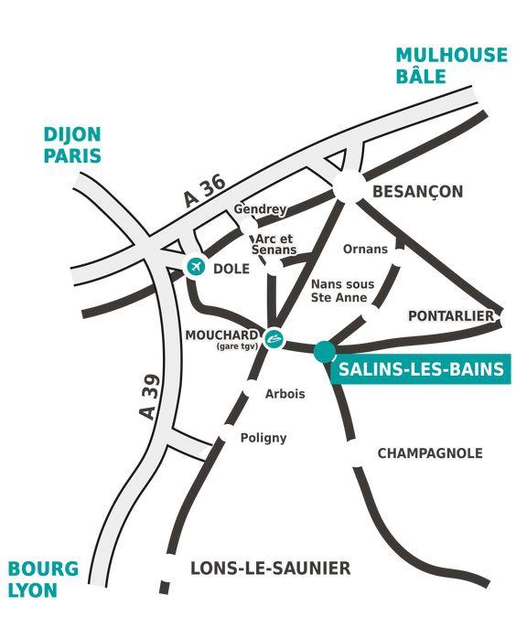 Salins-les-Bains (Сален-ле-Бен) на карте
