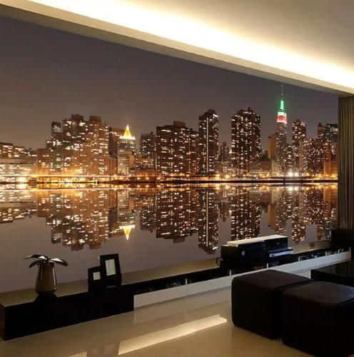 3d New York City Night View Lights Wallpaper Home Or Business Wallpaper Decor Bedroom Wallpaper Walls Bedroom Wall Painting Living Room