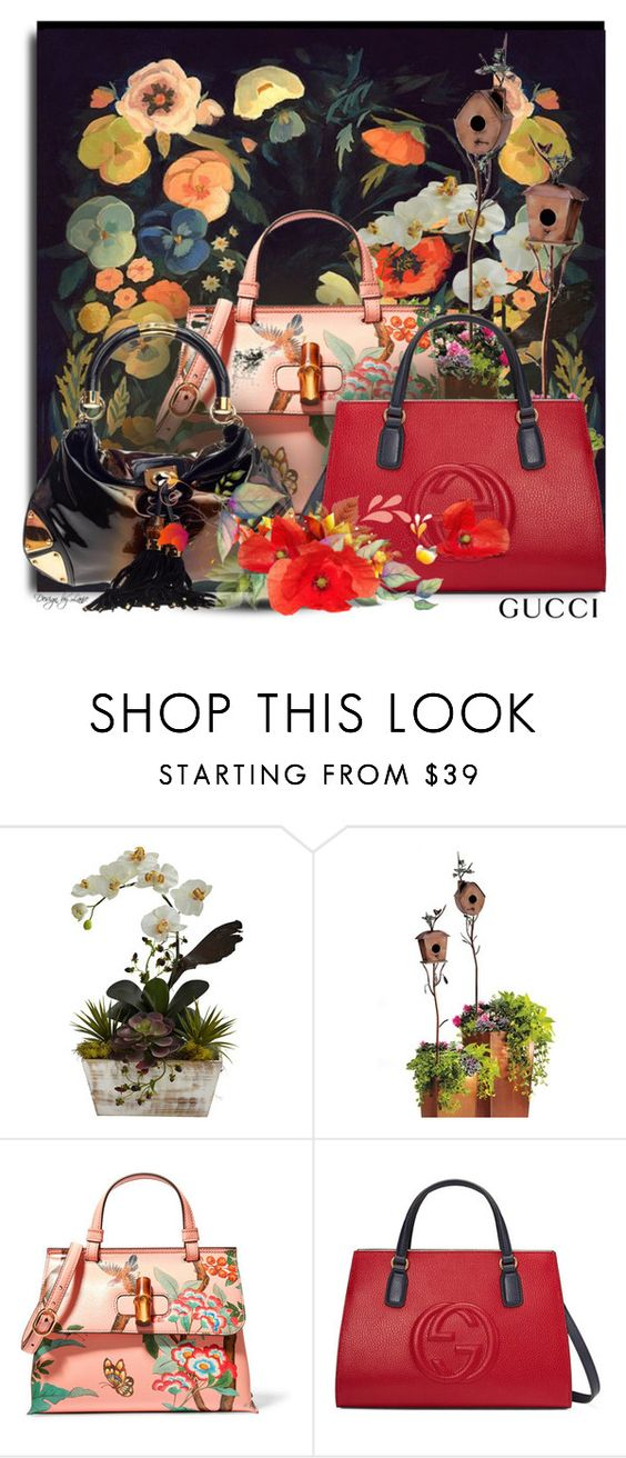 """""""The Gucci Night Garden"""" by esch103 ❤ liked on Polyvore featuring Grandin Road and Gucci"""