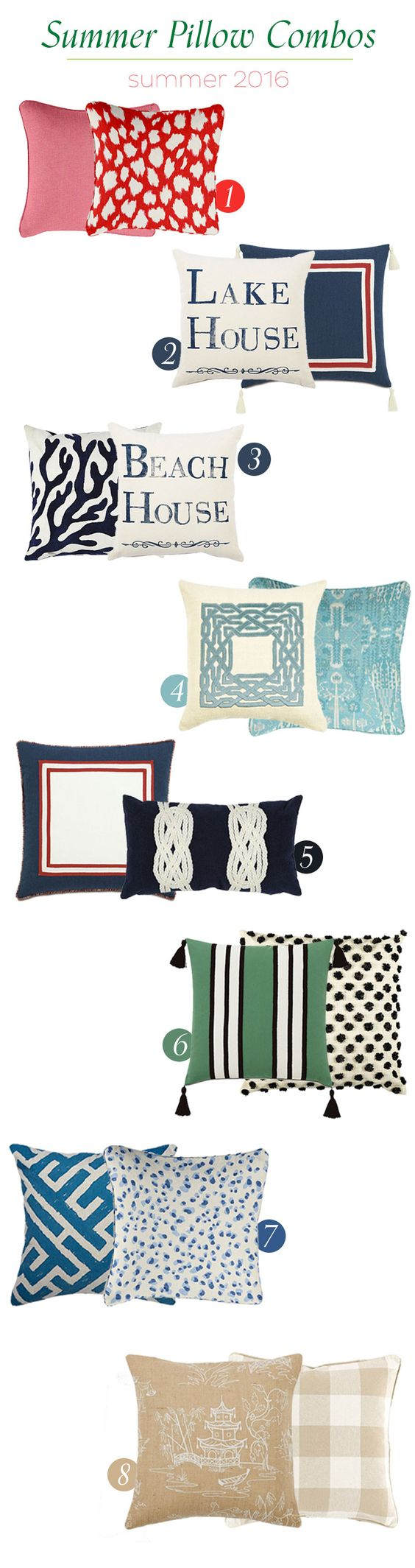 Summer 2016 pillow options for your living room:
