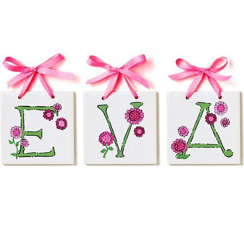 Lil Flowers Tile Letters from PoshTots  #PoshTotsNursery