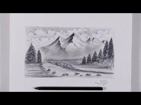 رسم منظر طبيعي باقلام الجرافيت رسم اشجار جبال غيوم خطوة بخطوة Tree Drawing Dream Art Drawings