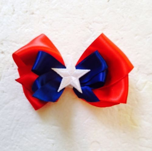 "New Handmade Patriotic Satin Ribbon 3"" Hair Bows Clips Accessories Hairbows"