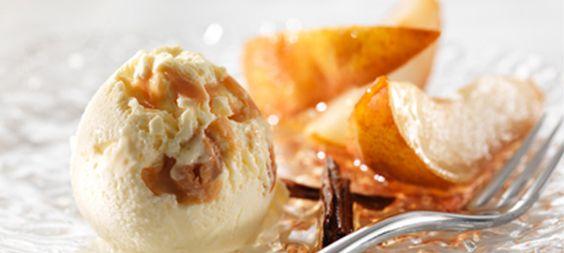 Philadelphia Vanille-Toffee-Eis mit Zimt-Birnen
