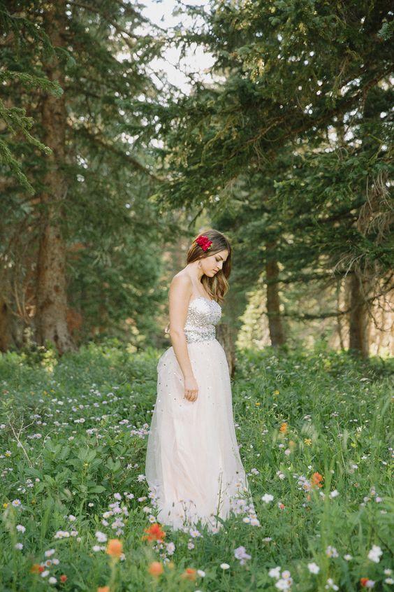 Wild flower Bridal shoot. Mountain wedding. Sequins wedding dress. Stephanie Sunderland Photography. Cute wedding photo ideas. Utah Wedding Photographer.