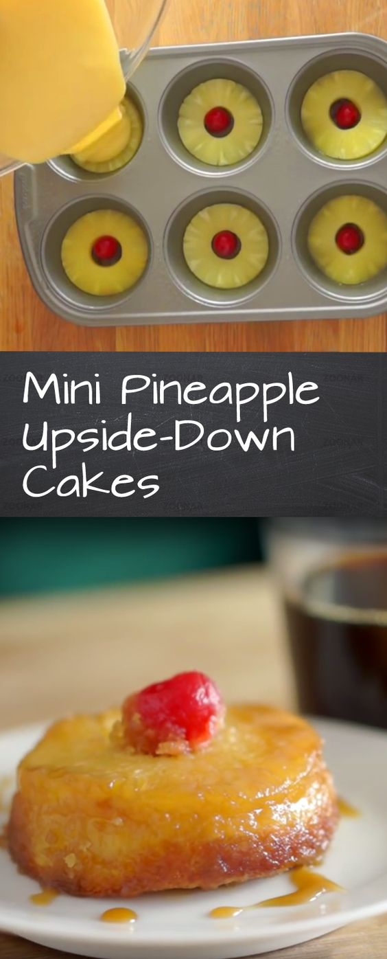 Mini Pineapple Upside-Down Cake Recipe   Bite into a taste of the tropics this muffin tin treat. Fun and easy to make and a great dessert for family gatherings.