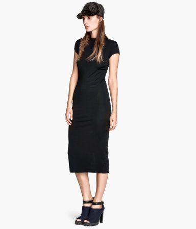 Fitted black mid-calf length dress - Clothes - Pinterest - H m ...