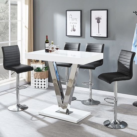Amazing Vienna Bar Table In White Gloss And 4 Ripple Black Bar Gmtry Best Dining Table And Chair Ideas Images Gmtryco