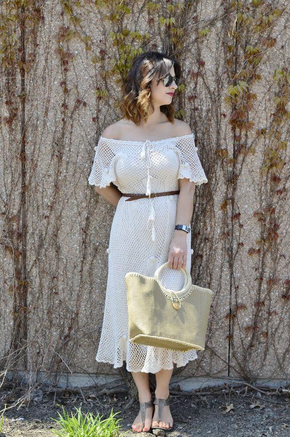 vintage dress/ vestido vintage/ vestido de croche/ crocheted dress/ 70's dress/ bohemian