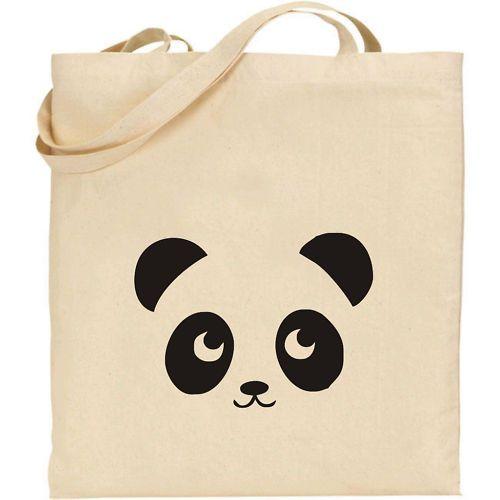tête de panda sur un cabas / PANDA -  COOL NATURAL COTTON TOTE SHOPPING / SCHOOL BAG: