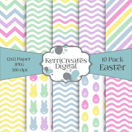 Easter Scrapbook Paper, Pastel by KerriCreatesDigital on Etsy