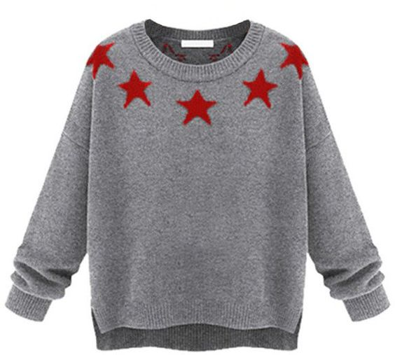 Pin for Later: Amerikanischer Patriotismus sah noch nie besser aus ChicNova Star Pullover ChicNova Five-pointed Stars Printed High Low Hem Pullover ($51)
