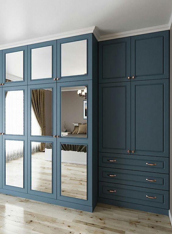 White Crown Colored Base And Grid Bedroom Closet Doors Build A Closet Wardrobe Door Designs