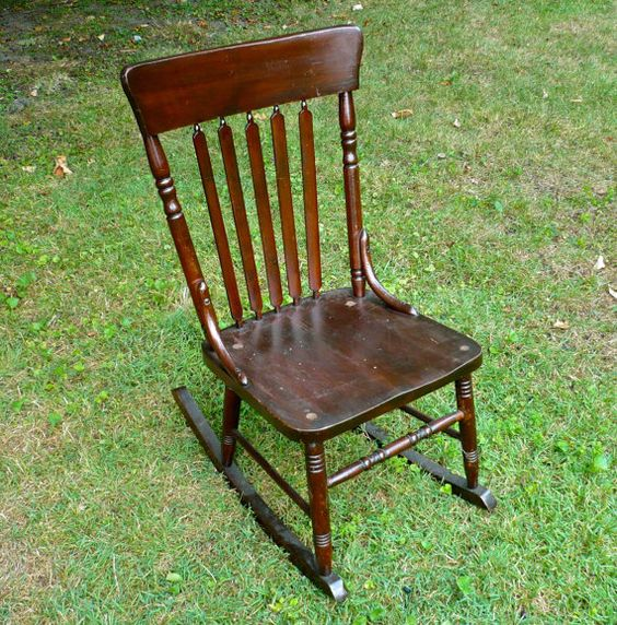 Armless Sewing Rocking Chair Antique Wood Antique Chair seating ...