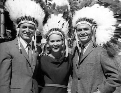 "Cary Grant, Eva Marie Saint and James Mason on the set of ""North by Northwest"""