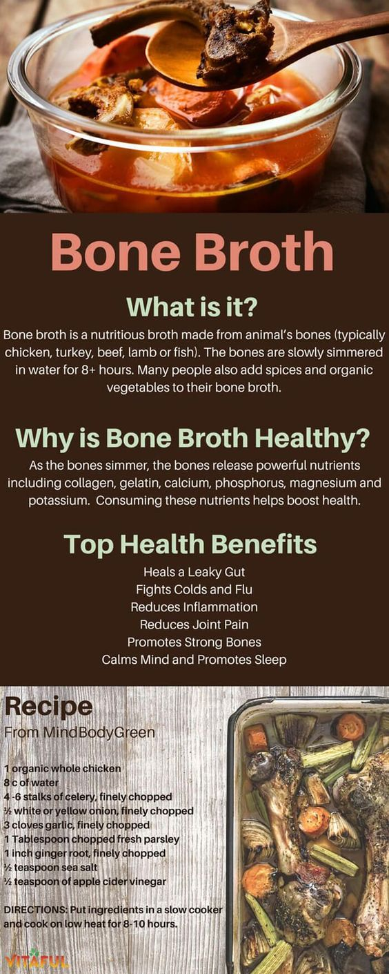 Bone broth is made when animal bones simmer in water for 8-10 hours, releasing powerful nutrients. Bone broth helps improve gut health (and overall health).