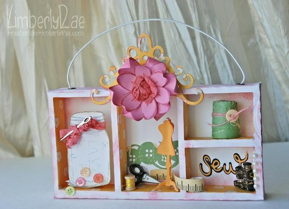 KimberlyRae blog  Cosmo Cricket papers: Scissors, measuring tape, button border and ornate scroll work. Jar by Lizzy Neopolitan pp.
