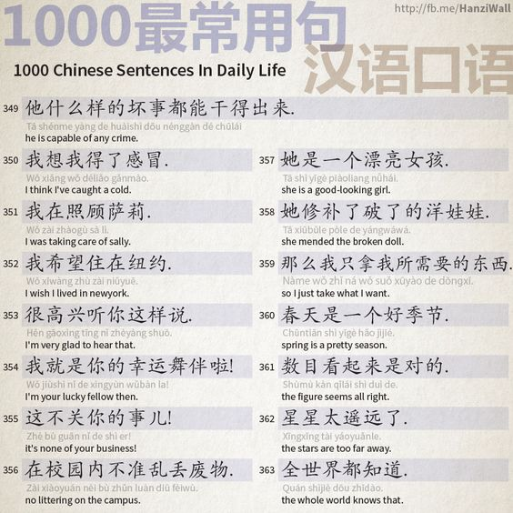 1000 Chinese Sentences In Daily Life Part 23