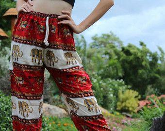 Harem Pants Hippie Boho Clothing Yoga elephant red
