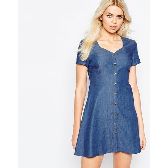 Daisy Street Denim Tea Dress With Cut Out Back (€26) ❤ liked on Polyvore featuring dresses, chambre, button front dress, white denim dress, vneck dress, blue denim dress and white button front dress