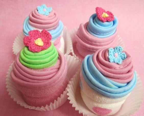 Baby Washcloth Cupcakes