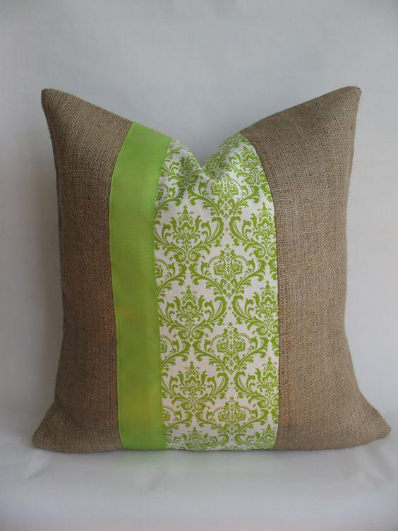 Burlap pillow with accent fabrics