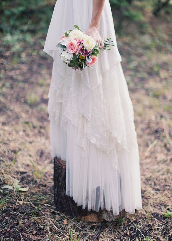 Detail of the gorgeous skirt of a custom wedding dress by Penelope at http://www.penelopesdresses.com/
