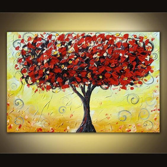 Acrylic Canvas Painting Ideas | Acrylic Paintings On Canvas Ideas Original acrylic tree painting
