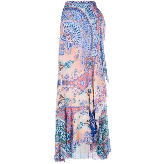 Etro Printed Silk Maxi Skirt (€1.870) ❤ liked on Polyvore featuring skirts, colorful maxi skirts, long wrap skirt, boho maxi skirt, long ruffle skirt and paisley maxi skirt