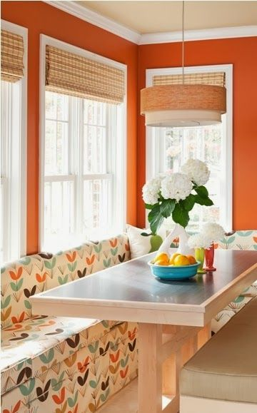 This is perfect! Love the burnt orange wall color! Style House & Homes: