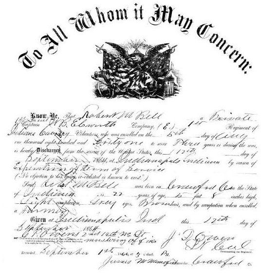 Civil War document. Discharge papers for a Private Bell of Indiana, age 22.