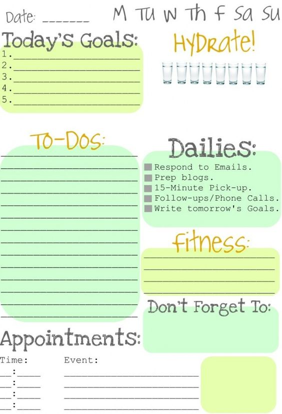 great day planner... love the hydrate! part!: Daily List, Daily Schedule, Day Planner, Planner Idea,  Website, Organization Printable, Daily Planners, Free Printable