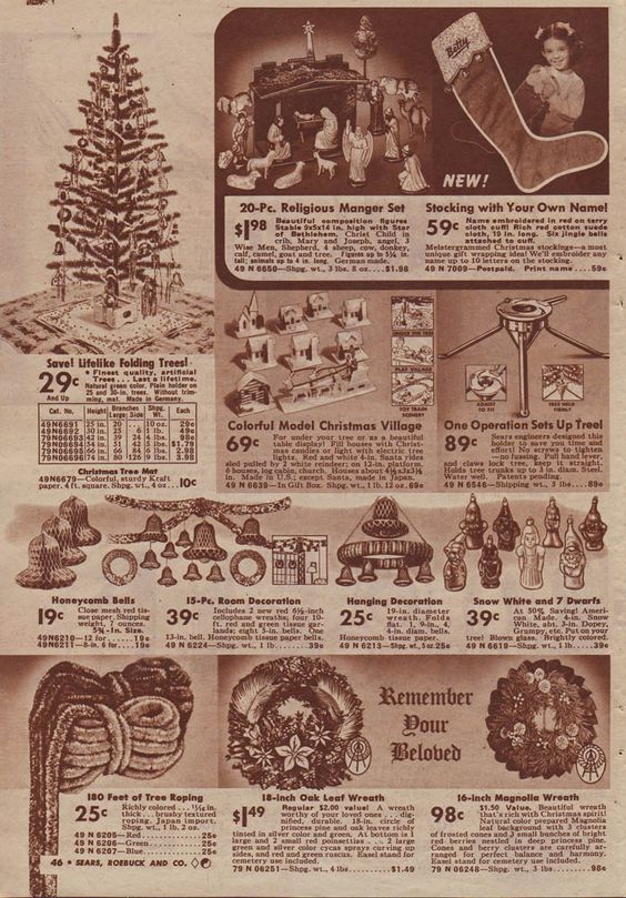 Christmas Decorations In Sears Christmas Catalog 1940