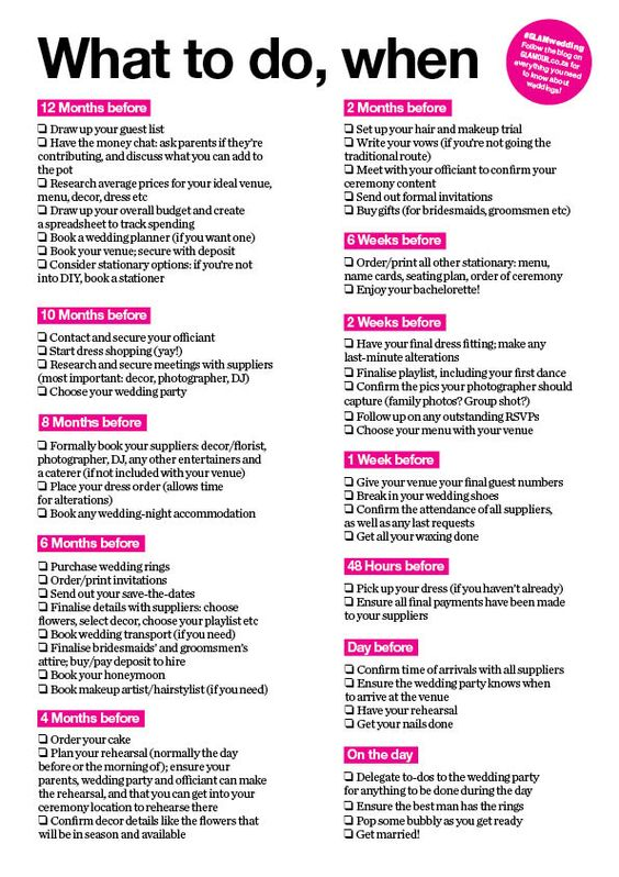 What To Do When Your Wedding Checklist Glamour South Africa Wedding Planning List 12 Month Wedding Checklist Wedding To Do List